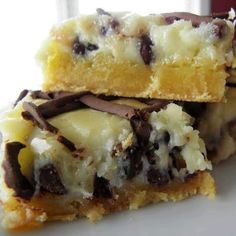CHOCOLATE CHIP GOOEY BUTTER CAKE - 1 Yellow Cake mix; 8 oz Cream Cheese; 1 C melted butter; 3 eggs; 1 tsp vanilla; 16 oz powdered sugar; 1 C choc chips - Oven 350. Spray 9x13 pan w/no stick. Melt ½ C butter in bowl. Add 1 egg & stir. Add cake mix & stir. Spread in pan. In large bowl, mix cream cheese, 2 eggs, & vanilla. Add sugar. Beat 3 mins on med high til smooth. Turn mixer to low & add ½ C melted butter. Add 1 C chocolate chips. Pour evenly over top of mixture in pan. Bake 350 for 30…