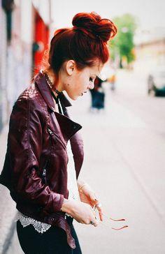 #red #leather #crochet #messy #bun