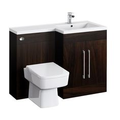 Valencia Dark Wood Combination Basin & WC Unit - 1100mm