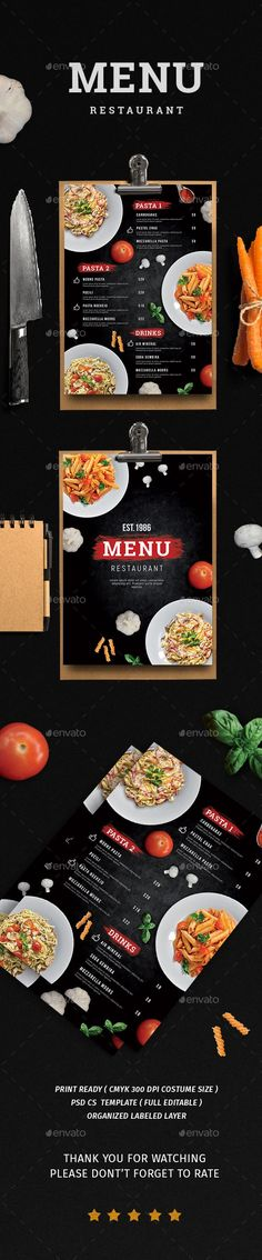 Menu Restaurant — Photoshop PSD #cocktail menu #drinks menu • Download ➝ https://graphicriver.net/item/menu-restaurant/19928401?ref=pxcr
