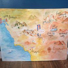 Roadtrip map is almost finish ! ~ La carte de notre roadtrip est presque terminée ! © Calligraphique #map #carte #roadtrip #usa #honeymoon #watercolor #aquarelle #watercolormap #westcoast #calligraphie #calligraphy #losangeles #sanfrancisco #lasvegas #grandcanyon #memories #passion
