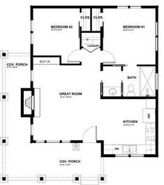 Cabin Style House Plan - 2 Beds 1.00 Baths 824 Sq/Ft Plan #895-91 Floor Plan - Main Floor Plan
