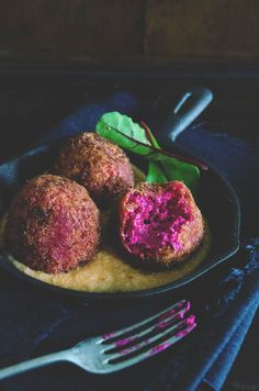 Beetroot & goat cheese croquettes with salmorejo. A vegetarian dish, great with drinks. The Salmorejo is a simple sauce, for the Salmorejo  recipe click here: http://heneedsfood.com/2012/11/salmorejo/