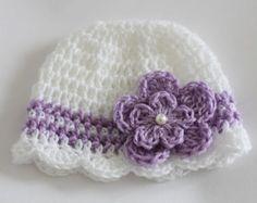 Crochet Baby Hat Beanie 0-12 Months Baby by HandmadeByHallien