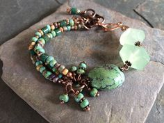 Gemstone Bracelet Turquoise Amazonite Czech Glass by esdesigns65