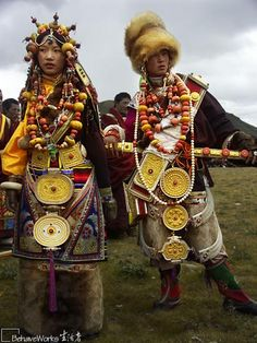 dressed up very specially in their local tibetan style