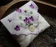 Vintage Sewing Crafts With Vintage Hankies - Bing Images Doilies Crafts, Fabric Crafts, Sewing Crafts, Sewing Projects, Embroidery Transfers, Embroidery Designs, Handkerchief Crafts, Vintage Textiles, Vintage Linen