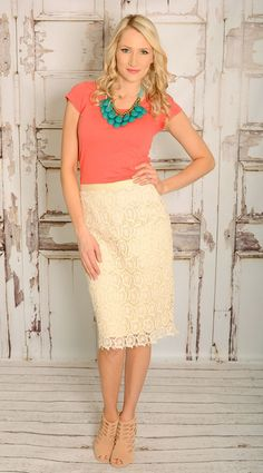 The Jean Girl - Lace Pencil Skirt, $42.00 (http://www.thejeangirlshop.com/lace-pencil-skirt/)