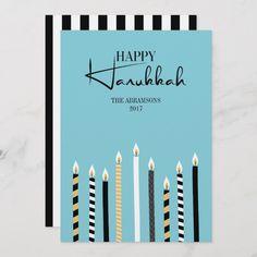 Shop Modern Happy Hanukkah Candles Holiday Card created by HappyAppleCanvas. Hanukkah Greeting, Happy Hanukkah, Holiday Cards, Christmas Cards, Christmas Ideas, Hanukkah Candles, Card Sayings, Hannukah, Menorah