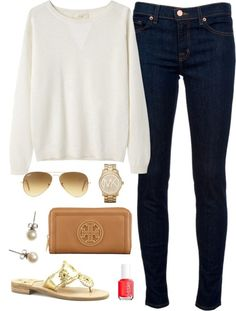 """Sweater Weather by classically-preppy featuring michael kors jewelry <span class=""""EmojiInput mj40"""" title=""""Heavy Black Heart""""></span> liked on PolyvoreVanessa Bruno Athé long sleeve sweater / J Brand mid rise skinny jeans, $280 / Sandals / Tory Burch wallet / Michael Kors jewelry / J.Crew pearl stud earrings / Ray-Ban aviator sunglasses / Essie formaldehyde free nail polish"""