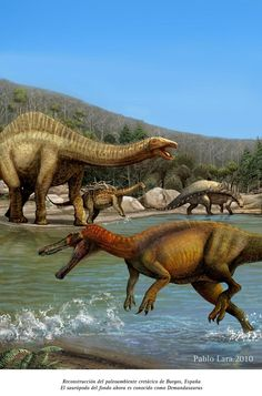 Reconstruction of the prehistoric life in the Jurassic of Spain. In the foreground, the spinosaurid dinosaur, Barionyx. In the middle ground the titanosaur Demandasurus, and in the background, the dinosaur Polacanthus.   Cretaceous Spain by pabluratops.deviantart.com on @deviantART