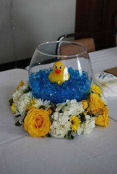 Baby Shower, Rubber Duck, Centerpieces My centerpieces for my daughters baby shower turned out . Juegos Baby Shower Niño, Distintivos Baby Shower, Ducky Baby Showers, Mesas Para Baby Shower, Rubber Ducky Baby Shower, Shower Bebe, Boy Baby Shower Themes, Baby Shower Cakes, Baby Shower Parties