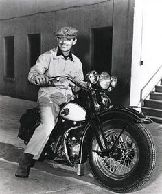 Clark Gable on his Late 40's Harley Motorcycle.
