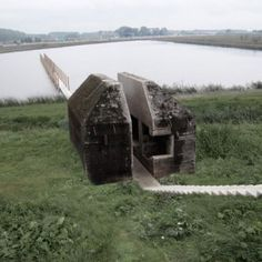 Movie shows concrete bunker cut in  half by RAAAF and Atelier de Lyon
