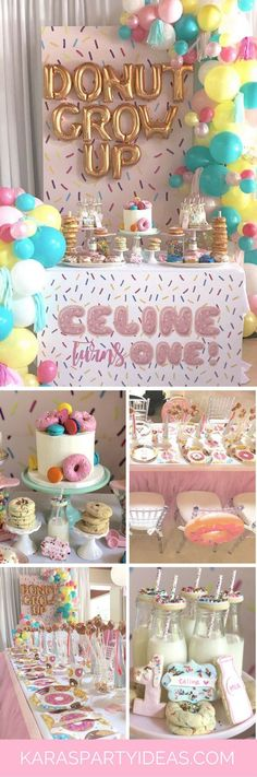 """Donut"" Grow Up Birthday birthday girl party ideas. More in my web site ""Donut"" Grow Up Birthday Party Donut Grow Up Party Doughnut Birthday via Kara's Party Ideas Donut Birthday Parties, Donut Party, 2nd Birthday Party Ideas, Birthday Celebration, Birthday Stuff, Birthday Board, 4th Birthday, 30th Birthday Ideas For Girls, 1st Birthday Girl Decorations"