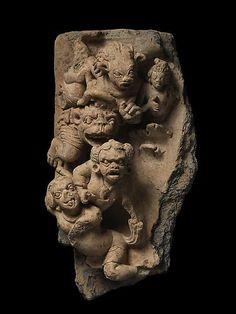 "Nancy Wiener  MARA'S DEMONS   Terracotta  East India or Bangladesh, Gupta period, 6th century AD (40.6 cm)  Height: 16"""