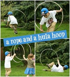 add a rope and a hoola hoop to your outdoor play space for open-ended play and gross-mtotor development