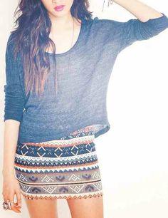 Loose Grey Quarter Sleeve. Tribal Skirt. Teen Fashion.  By-Iheartfashion14 ♥  →follow←