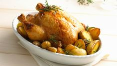 Give the gift of terrific flavor with this Lemon Rosemary Chicken with Potatoes recipe. Prepare Lemon Rosemary Chicken with Potatoes in under two hours. Roasted Chicken And Potatoes, Lemon Potatoes, Chicken Pasta Bake, Oven Chicken, Roast Chicken, Chicken Casserole, Potato Recipes, Chicken Recipes, Pork Roast In Oven