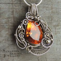 Valentine AAA Citrine Orange Cubic Zirconia Sterling Silver Wirewrapped OOAK Fire and Ice Necklace