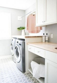 """Excellent """"laundry room storage diy small"""" information is readily available on our web pages. Take a look and you wont be sorry you did. Laundry Room Tile, White Laundry Rooms, Basement Laundry, Laundry Room Organization, Laundry Room Design, White Rooms, Laundry Decor, Laundry Baskets, Laundry Storage"""