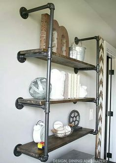 DIY industrial pipe and wood bathroom shelves