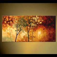 "Landscape Tree Painting Original Abstract Modern Fine Art by Osnat - MADE-TO-ORDER - 48""x24"""