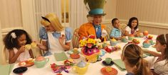 """Wonderland Tea Party @Disney  Every weekday afternoon, children ages 4 to 12 can join Disney Friends from Wonderland, like Alice and the Mad Hatter, for a fun-filled hour of stories, games, cupcakes and """"tea""""  at 1900 Park Fare restaurant at Disney's Grand Floridian Resort & Spa. It's an elegant teatime with a whimsical twist!   darn, i'm too old!"""