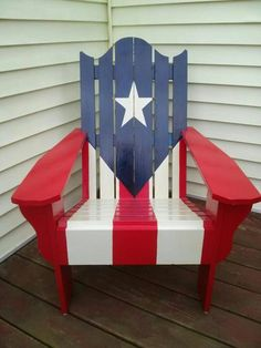 Puerto Rican Flag Adirondack chair-- I want 6 for my backyard ! Puerto Rican Flag, Puerto Rico Food, Puerto Rico History, Puerto Rican Culture, Puerto Rican Recipes, Puerto Ricans, Cool Chairs, Beautiful Islands, Home Projects
