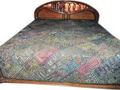 "Amazon.com: Kutch Handicraft Blue Bedspread Beautiful Bohemian Fine Indian Style Bedding Tapestry 80""x80"": Home & Kitchen"