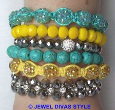 """I made my own version of Samantha Wills """"Skies are Painted"""" bracelet stack. I loved the colours so much I made my own called """"Sunny Skies""""! - http://jeweldivasstyle.com/designer-inspired-how-to-make-your-own-version-of-samantha-wills-skies-are-painted-bracelet-stack/"""