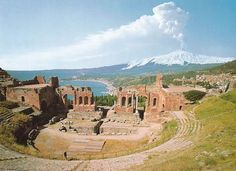 Greek Theatre at Taormina 3rd c BCE various phases to its construction mostly in Roman period