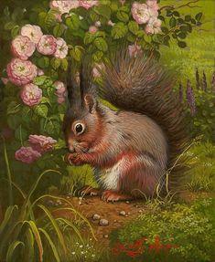 Garden Squirrel by Yana Movchan presented by Lotton Gallery Wildlife Paintings, Wildlife Art, Woodland Creatures, Woodland Animals, Squirrel Art, Squirrel Tattoo, Illustration Art, Illustrations, Animal Magic