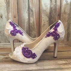 Wedding Shoes Purple Lace Butterflies Bridal