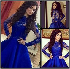 Lace Dresses 2016 Royal Blue Prom Dresses With Long Sleeves Homecoming Dresses High Neck Myriam Fares A Line Short Prom Party Dresses Arabic Kaftan Dress Long Dress From Cc_bridal, $93.46| Dhgate.Com