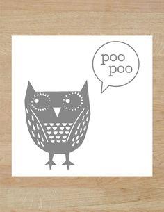 POO POO OWL Bathroom Sign, Funny Bathroom Signs, Bathroom Humor, Subway  Art, Wall Sign, Bathroom Art, Snarky, Wall Decor