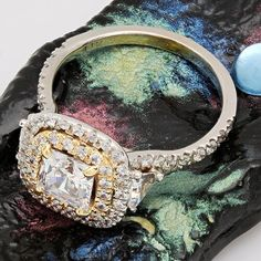 Two tone gold halo ring in Tiffany's Soleste Style cubic zirconia center stone Cubic Zirconia Engagement Rings, Diamond Engagement Rings, Halo Setting, Halo Rings, Natural Diamonds, White Gold, Wedding Rings, Jewels, Stone