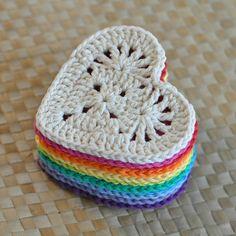 PDF Granny Heart Coaster N Motif Crochet Pattern – Granny Square Crochet Squares, Crochet Granny, Crochet Stitches, Crochet Hooks, Crochet Baby, Granny Squares, Heart Granny Square, Crochet Motif Patterns, Crochet Coaster Pattern Free