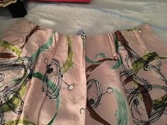 Old fabric texture barkcloth abstract lined curtain valance accent pillows pink