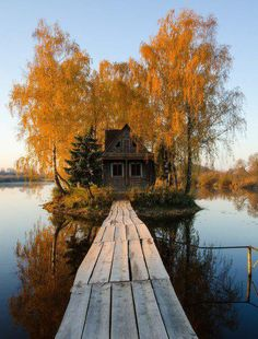 Old house on a wooden boardwalk surrounded by auburn autumn leaves and a lake Beautiful World, Beautiful Places, Beautiful Pictures, Travel Photographie, Autumn Aesthetic, Fall Pictures, Autumn Leaves, Autumn Fall, Fall Harvest