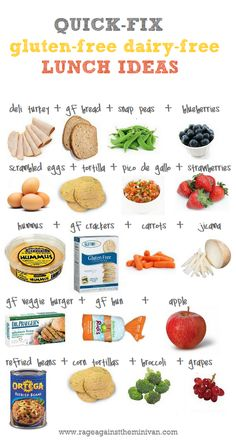 quick gluten-free and dairy-free lunch ideas. I wish I could get my kid to eat something different for his school lunches.