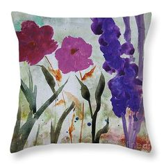 """Dreamy Pink and Purple Flowers Throw Pillow 14"""" x 14"""""""