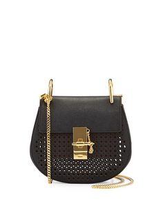 Chloe, Drew Perforated Mini Shoulder Bag, Black.