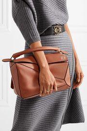 Puzzle textured-leather shoulder bag