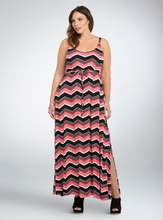 Chevron Print Side Slit Maxi Dress, CHEVRON STEPS