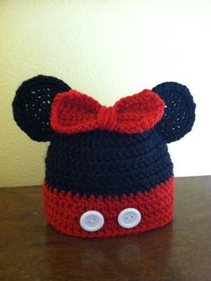 Crochet PATTERN Mickey or Minnie Mouse Hat (sizes preemie through adult extra large) link in Etsy listing for FREE version of pattern.