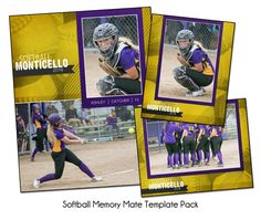 SOFTBALL PACK E - Memory Mate Sports Photo Templates - Digital Files Only
