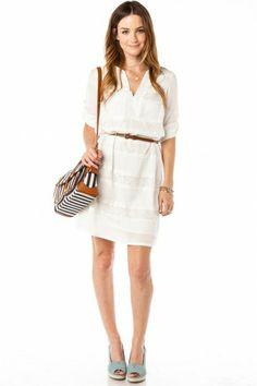 Lace Stripe Shift Dress