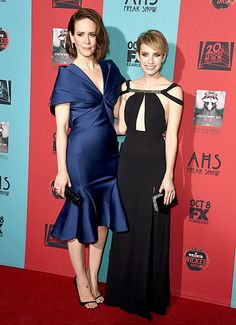 Nothing remotely freaky about Sarah Paulson and Emma Roberts at the AHS: Freak Show premiere. Both looked stunning!