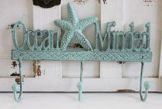 Ocean Minded Green Iron Triple Hook - Starfish Wall Hooks - California Seashell Company